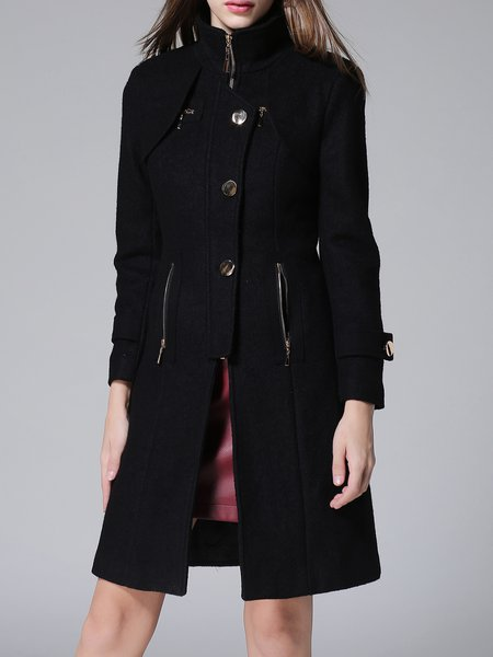 Casual Solid H-line Long Sleeve High Temperature Setting Coat