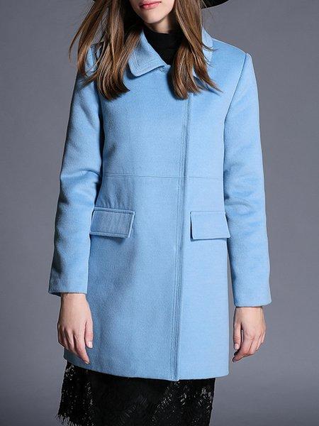 Light Blue Long Sleeve Pockets H-line Wool Blend Coat