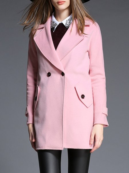 Basic Lapel Cotton-blend Long Sleeve Coat