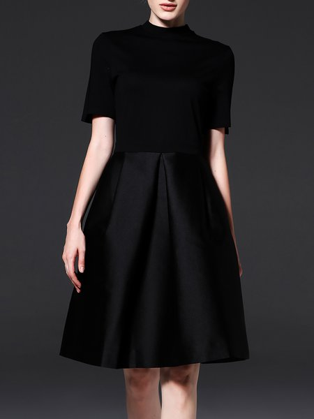 Black A-line Stand Collar Elegant Midi Dress