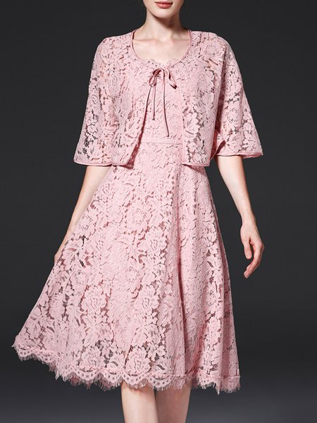 Pink Two Piece Lace Up Floral Sweet Midi Dress