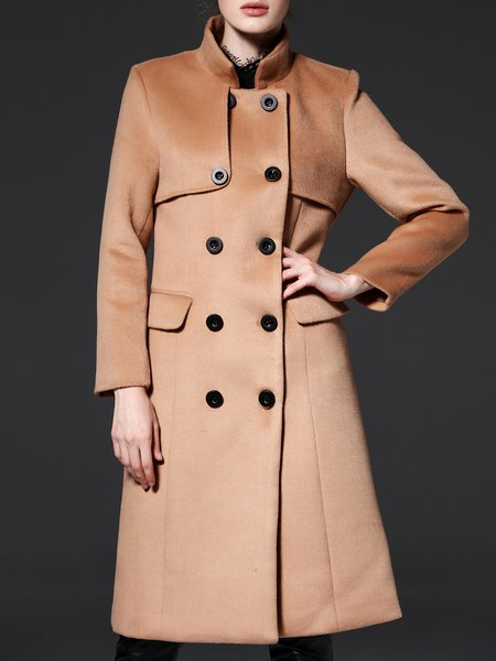 Camel Simple H-line Buttoned Stand Collar Wool-blend Coat