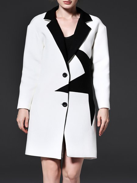 White Long Sleeve Cotton  H-line Wool-blend Coat