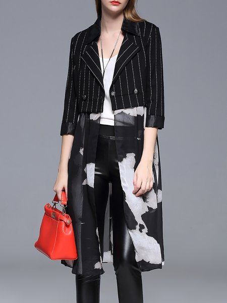 Black Statement Lapel Long Sleeve A-line Paneled Coat