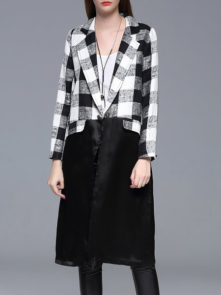 Long Sleeve Paneled H-line Checkered Silk Linen Coat