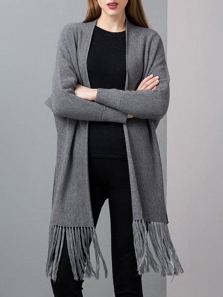 Gray Cashmere High Low Long Sleeve Solid Fringed Cape