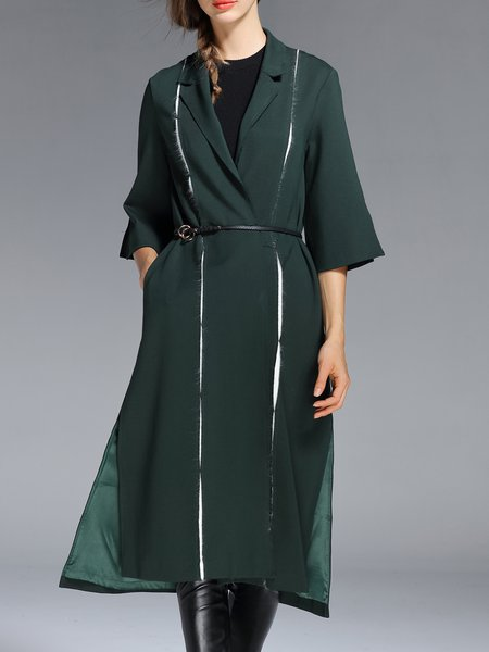 Green 3/4 Sleeve Lapel Shift Plain Coat with Belt