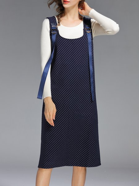 Royal Blue Stripes Simple Overall Midi Dress