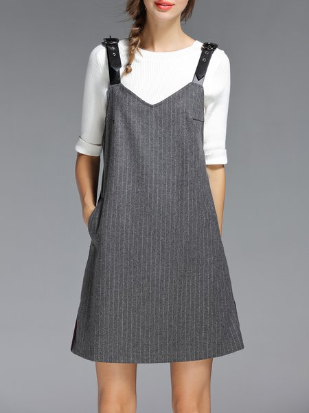 Gray Stripes Girly Pockets Overall Mini Dress