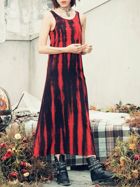 Red Cotton Crew Neck Ombre Sleeveless Midi Dress