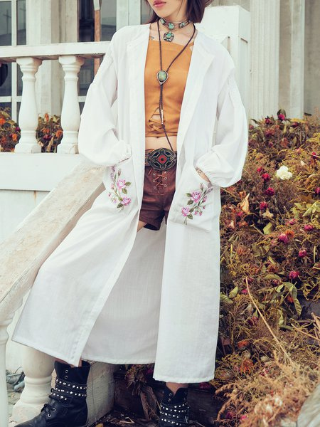 White Embroidered Long Sleeve Coat
