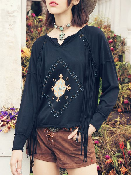 Black Vintage Tribal Cotton-blend Fringed Long Sleeved Top