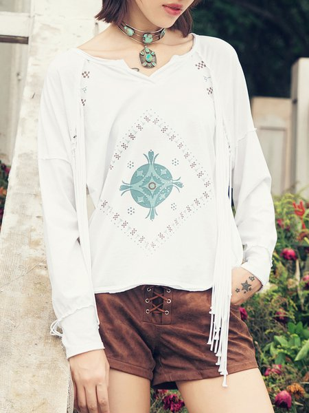White Fringed Tribal V Neck Cotton-blend Long Sleeved Top