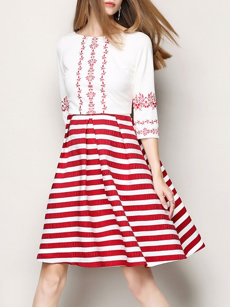 Red 3/4 Sleeve Paneled Stripes Crew Neck Midi Dress