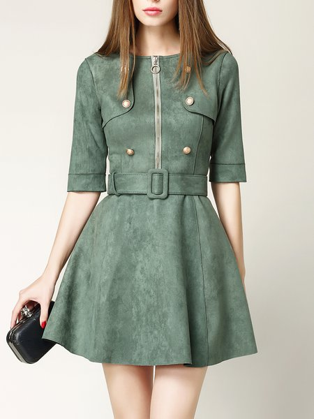 Zipper Suede Buttoned Solid Half Sleeve Mini Dress with Belt