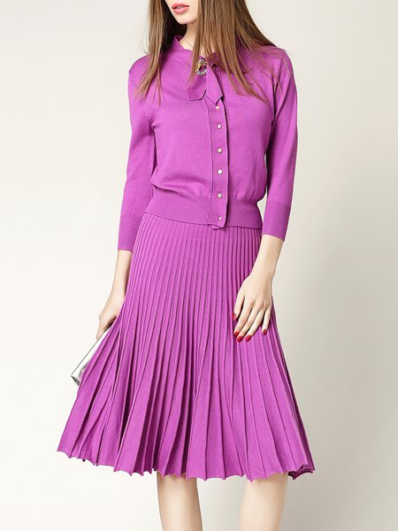 Pleated Shirt Collar Two Piece Long Sleeve Midi Dress with Brooch