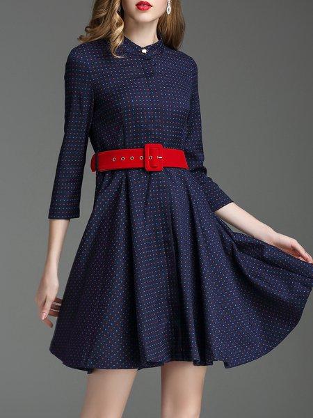 Navy Blue 3/4 Sleeve Polka Dots Mini Dress with Belt