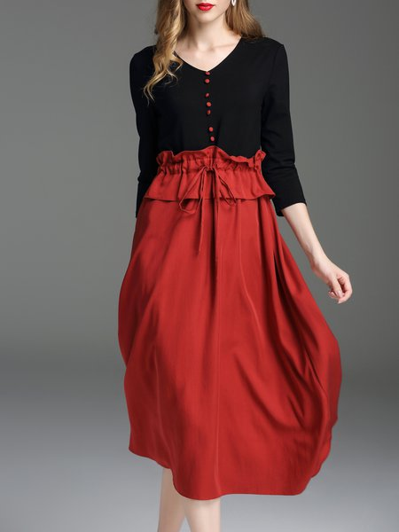 Wine Red Paneled 3/4 Sleeve Tencel Swing Midi Dress