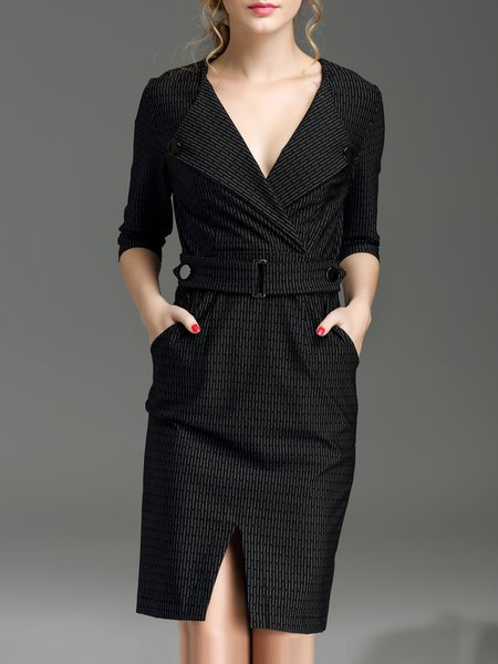 Black 3/4 Sleeve Pockets V Neck Midi Dress
