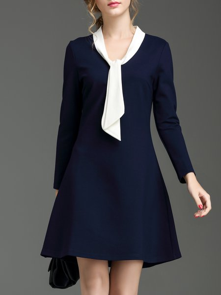 Navy Blue Tie Color-block Long Sleeve A-line Mini Dress