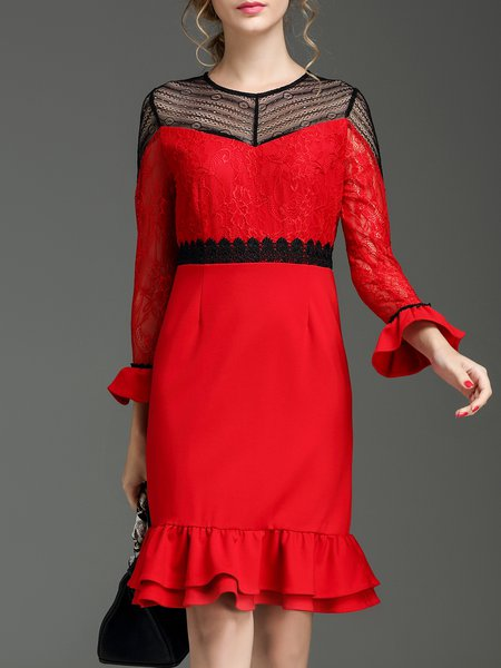 Red Paneled Frill Sleeve Flounce Midi Dress