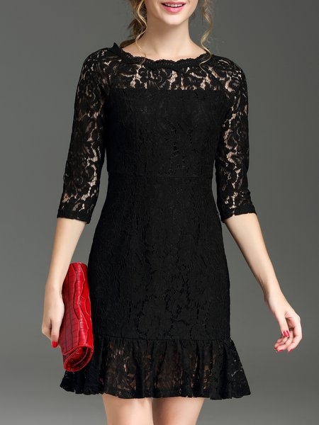 Black Lace Raglan Sleeve Pierced Mini Dress