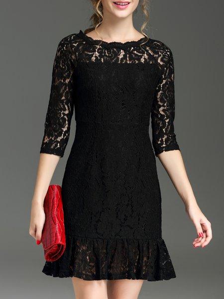 Black Lace Raglan Sleeve Pierced Mini Dress