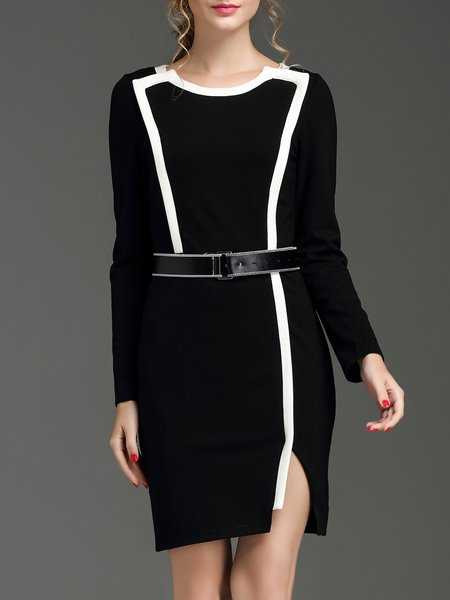 Black Slit Color-block Long Sleeve Mini Dress with Belt