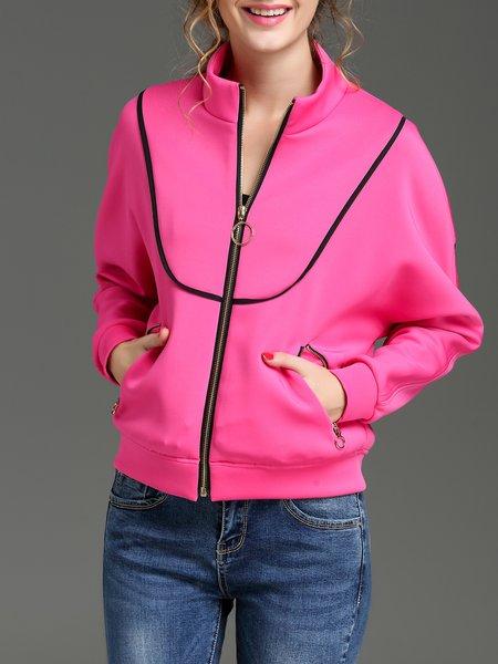 Fuchsia Stand Collar Raglan Sleeve Zipper Bomber Jacket
