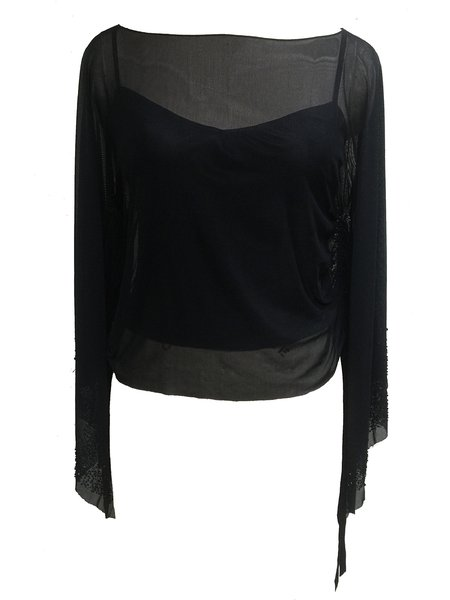 Black Beaded Sexy Slash Neck Solid Long Sleeved Top