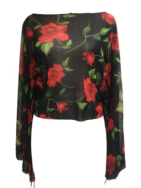 Red Floral-print Slash Neck Sexy Long Sleeved Top