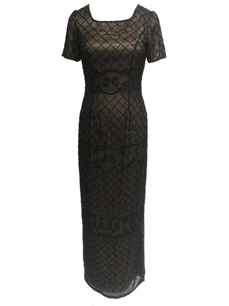 Golden Slit Square Neck Beaded Short Sleeve Evening Dress