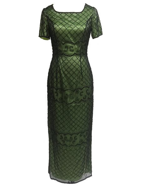 Green Slit Short Sleeve Sheath Checkered/Plaid Maxi Dress
