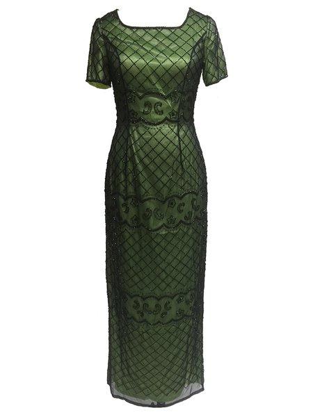 Green Slit Short Sleeve Sheath Checkered/Plaid Maxi Dress