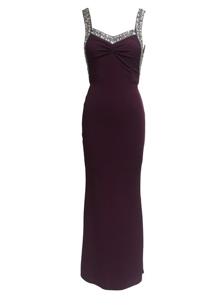 Wine Red Mermaid Beaded Sexy Backless Evening Dress