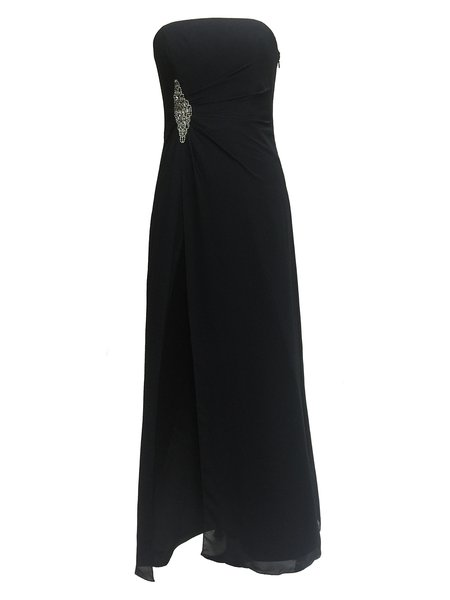 Black Strapless Beaded Gathered Chiffon Evening Dress