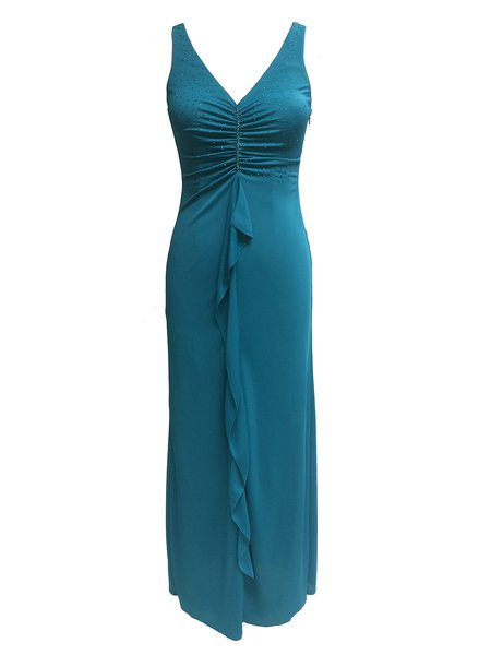 Blue Beaded Sleeveless V Neck Evening Dress