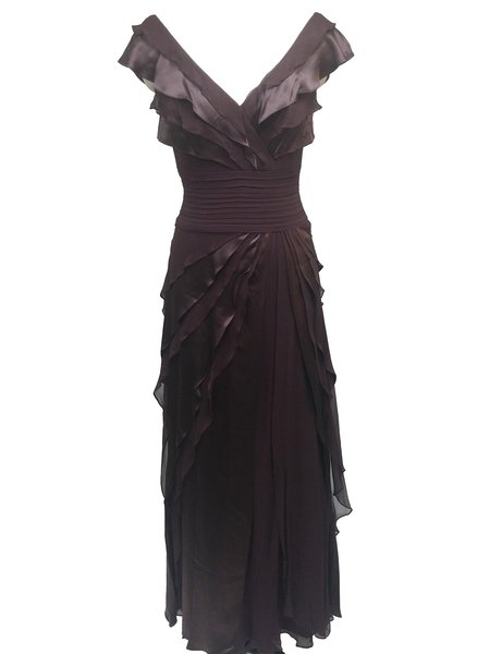 Brown Tiered Plunging Neck Silk-chiffon Evening Dress