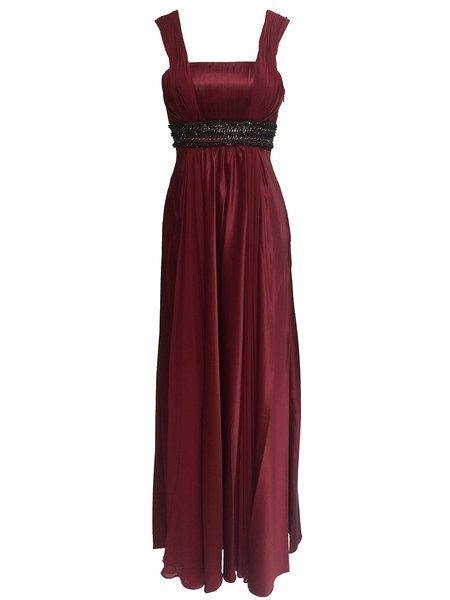 Red Pleaded Spaghetti Chiffon Square Neck Evening Dress