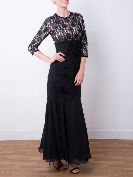 Black 3/4 Sleeve Ruched Lace Mermaid Evening Dress