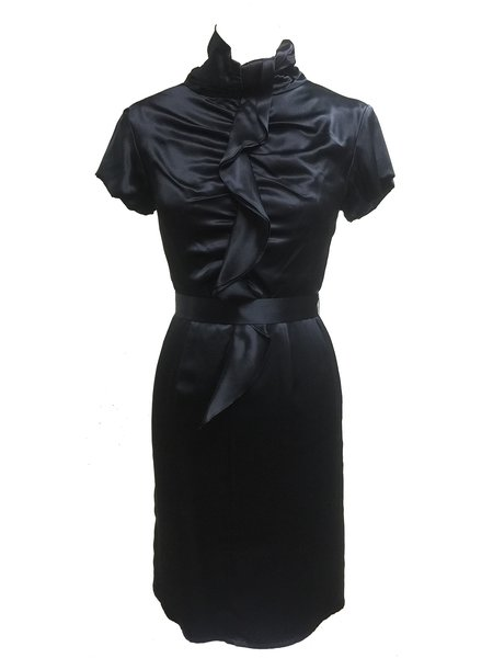 Black Sheath Stand Collar Silk Ruffled Midi Dress