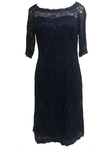 Navy Blue Slash Neck Half Sleeve Lace Floral Midi Dress