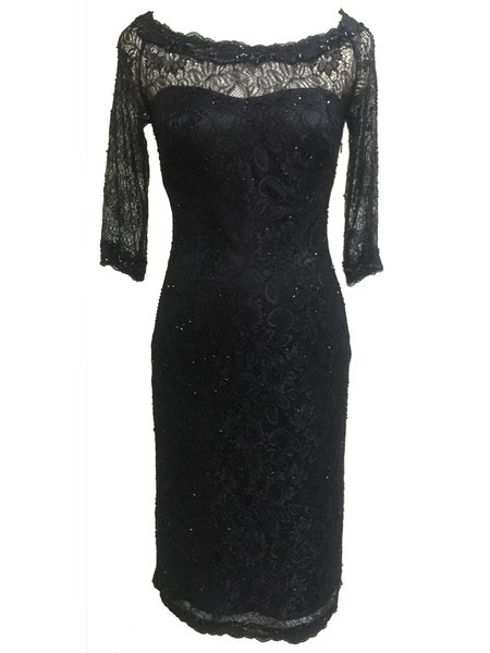 Black Pierced Lace Half Sleeve Elegant Midi Dress