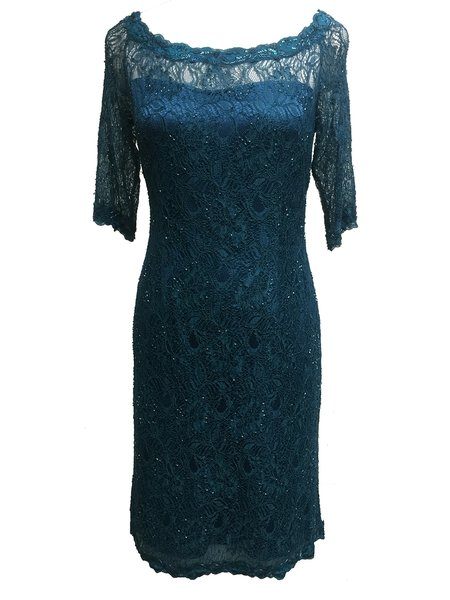 Blue Lace Half Sleeve Sheath Sequins Midi Dress