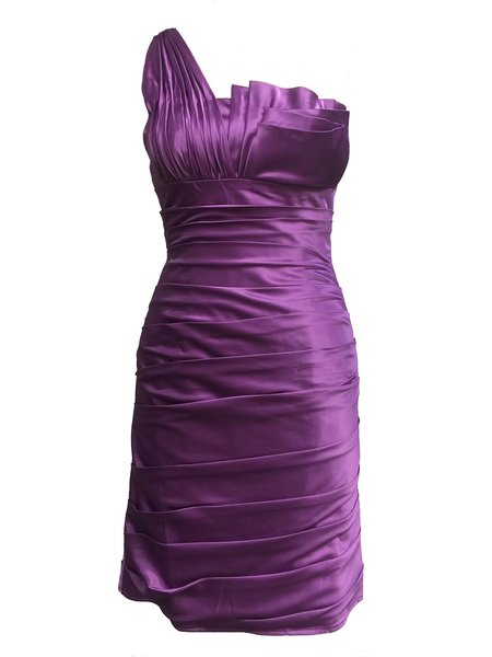 Purple One Shoulder Sleeveless Solid Bodycon Mini Dress