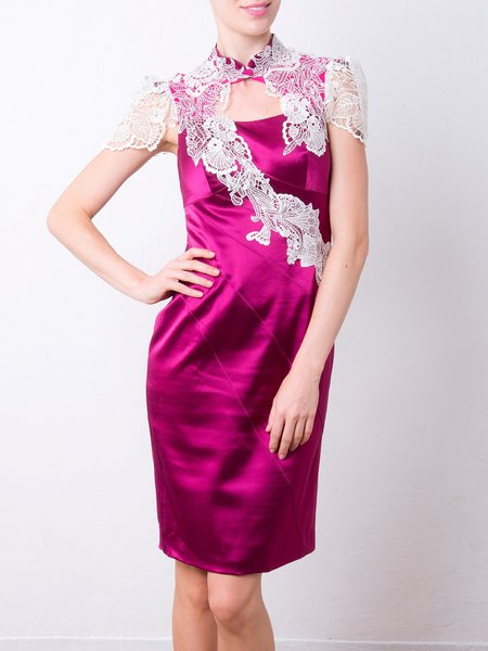 Fuchsia Elegant Cutout Midi Dress