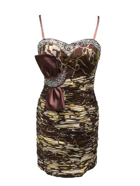 Goden Satin Ruched Beaded Devore Spaghetti Mini Dress