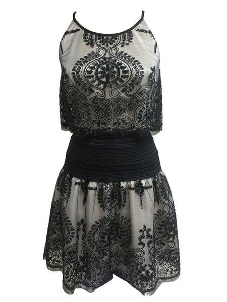 Black Embroidered Sleeveless Crew Neck Mini Dress