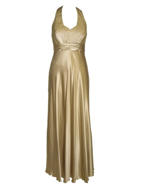 Beige A-line Elegant Folds Halter Evening Dress