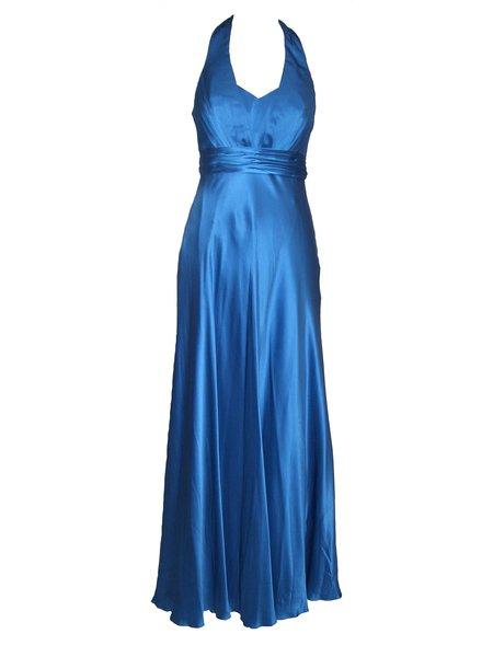 Blue Halter Satin Elegant Folds Evening Dress